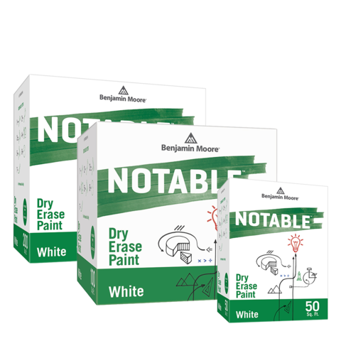 Benjamin Moore Notables in the color white, full product collection.