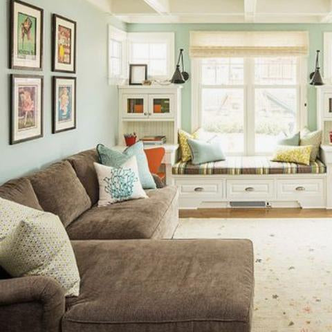 A living room painted with Benjamin Moore's Silver Marlin,  available at Clement's Paint in Austin, Texas.