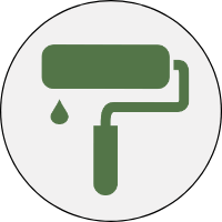 paint roller icon with paint dripping