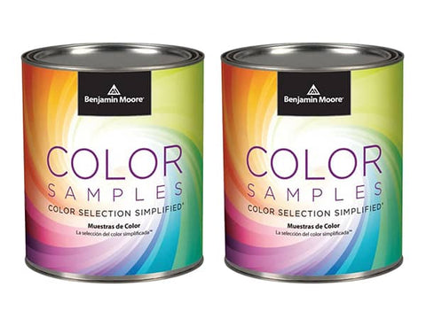 Two Benjamin Moore paint sample pints, available at Clement's Paint in Austin, TX.