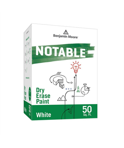 Benjamin Moore Notable Dry Erase Paint in White 50 sq. ft, available at Clement's Paint.