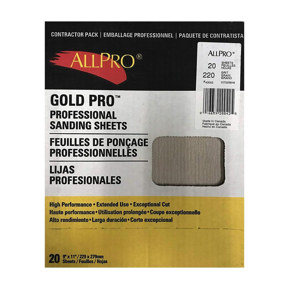 Allpro Gold Pro Sanding Sheets, available at Clement's Paint in Austin, TX.