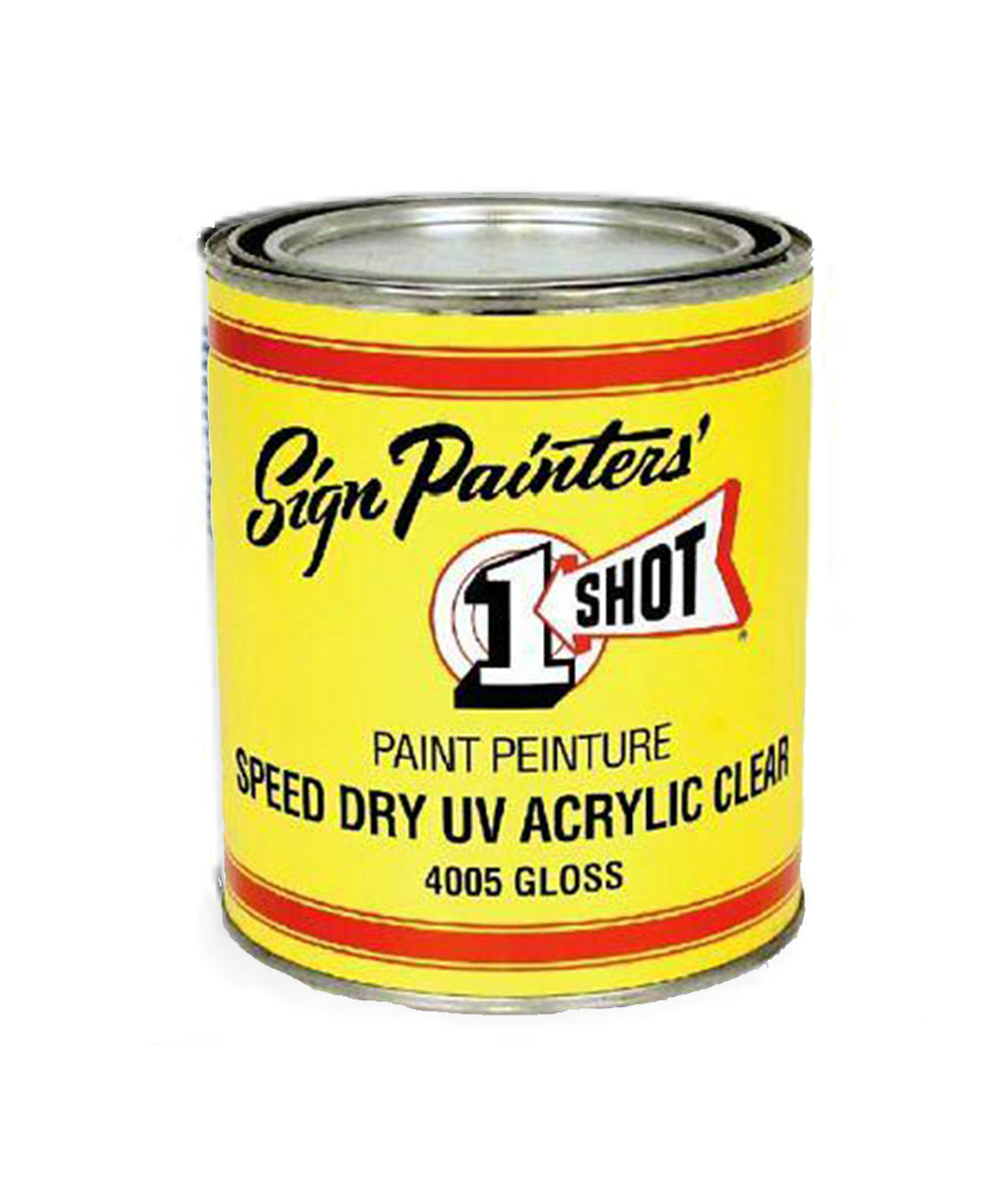 One Shot UV Acrylic Clear Gloss, available at Clement's Paint in Austin, TX.