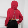 PUNK CHAIN CROP TOP HOODIE