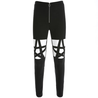 GOTHIC PUNK HOLLOW OUT PENTAGRAM LEGGINGS PANTS