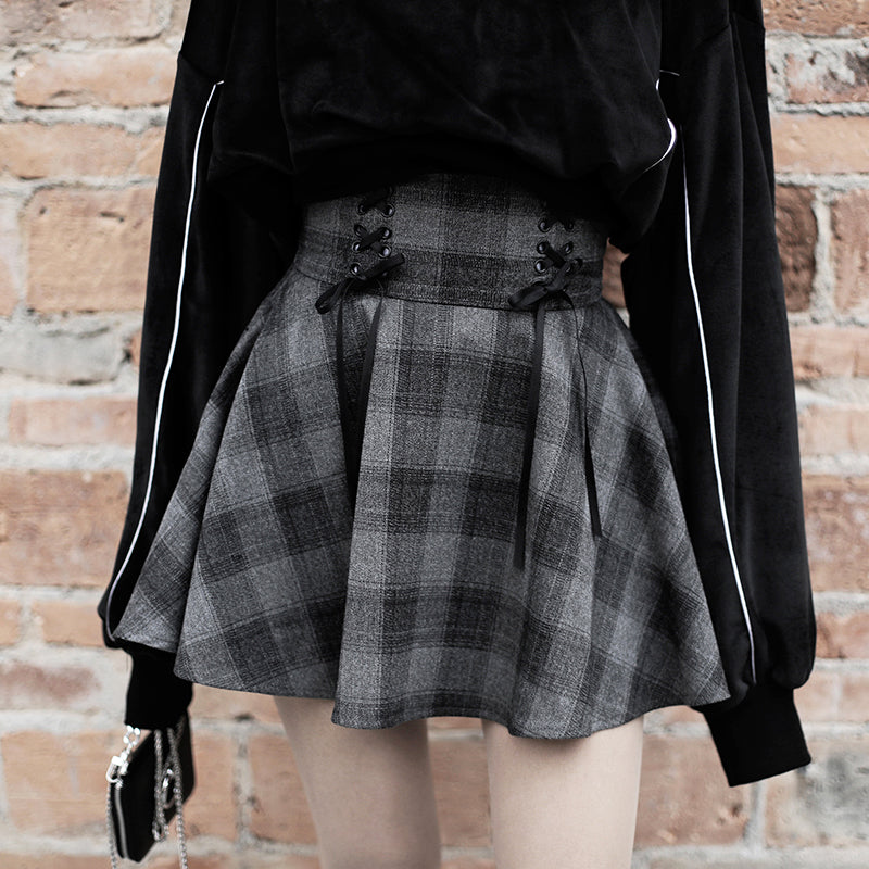 """RESTING WITCH FACE"" PLAID SKIRT"