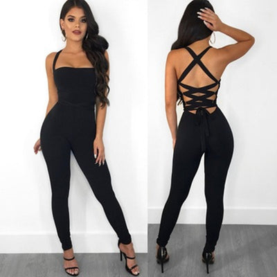 SEXY BACK LACE UP JUMPSUIT