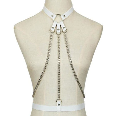Alexis Leather & Chain Harness - White