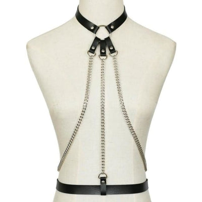 Alexis Leather & Chain Harness - Black