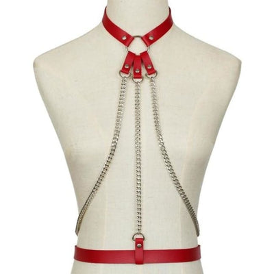 Alexis Leather & Chain Harness - Red
