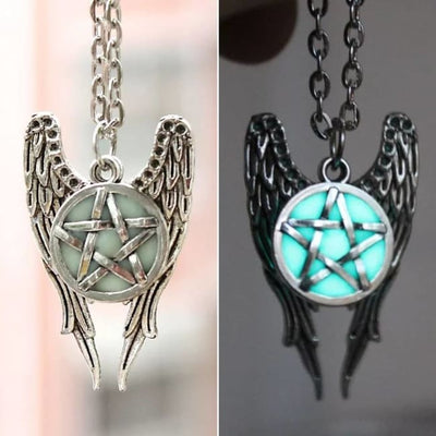 """ANGEL BY DAY, DEMON BY NIGHT"" GLOW IN THE DARK PENTAGRAM PENDANT NECKLACE-Rebellious Creatures"