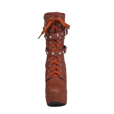 Biker Platform Lace Up Double Rivet Buckle Platform Boots