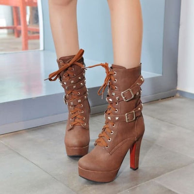 Biker Platform Lace Up Double Rivet Buckle Platform Boots - Brown / 6