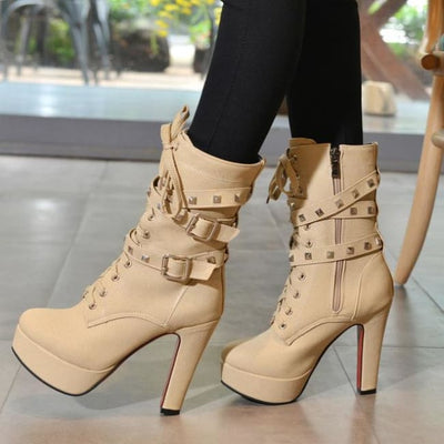 Biker Platform Lace Up Double Rivet Buckle Platform Boots - Beige / 6