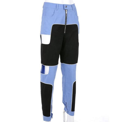 BLUE PATCHWORK HOLLOW CARGO PANTS - Bottoms