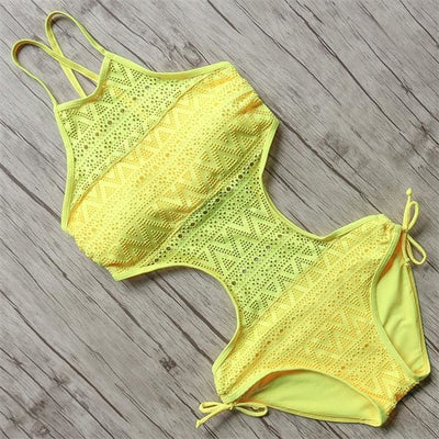 BOHEMIAN HALTER SWIMSUIT - YELLOW / L - Swimwear