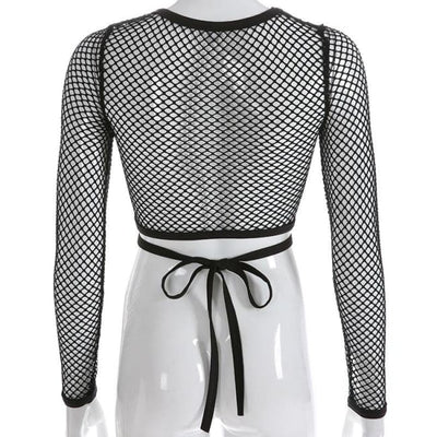 CRISS CROSS MESH CROP TOP - Crop Tops