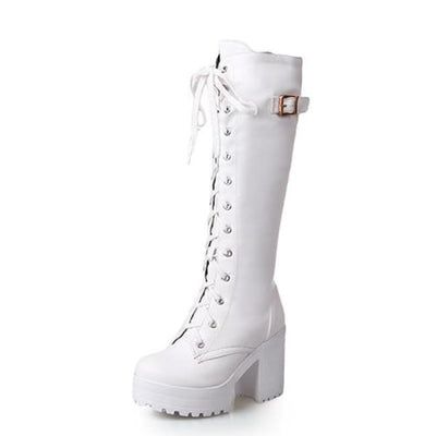Eleanor Knee High Boots - White Shoes / 4