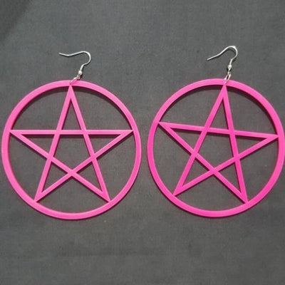 Exaggerated Pentagram Earrings - Pink