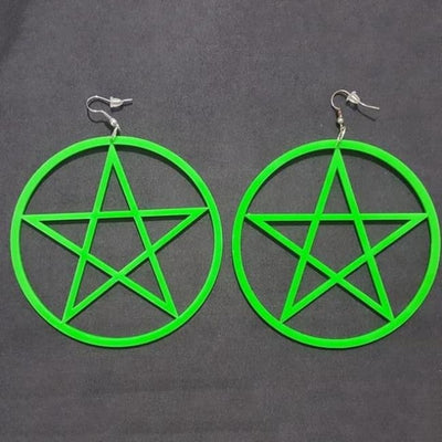 Exaggerated Pentagram Earrings - Green