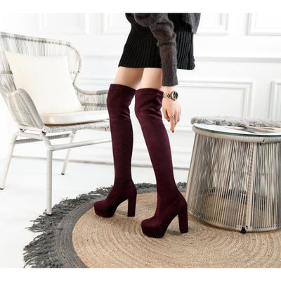 FAUX SUEDE THIGH HIGH BOOTS-Footwear-Rebellious Creatures