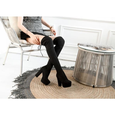 FAUX SUEDE THIGH HIGH BOOTS - Footwear