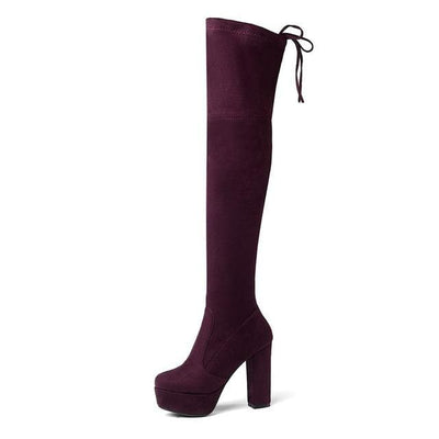 FAUX SUEDE THIGH HIGH BOOTS - DARKMAGENTA / 6 - Footwear