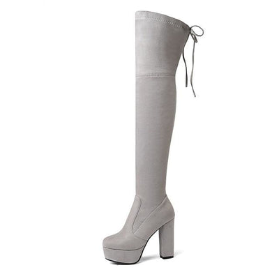 FAUX SUEDE THIGH HIGH BOOTS - LIGHTGRAY / 6 - Footwear
