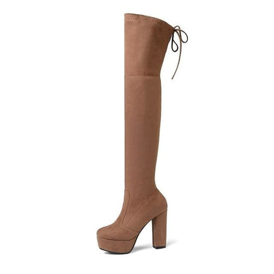 FAUX SUEDE THIGH HIGH BOOTS - TAN / 6 - Footwear