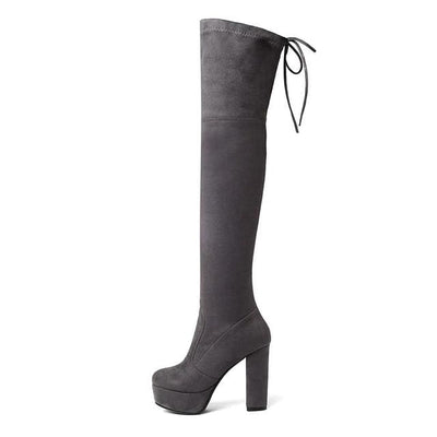 FAUX SUEDE THIGH HIGH BOOTS - DARK GRAY / 6 - Footwear