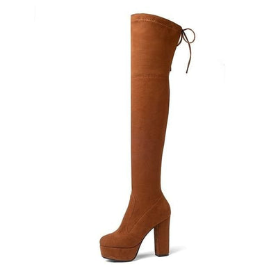 FAUX SUEDE THIGH HIGH BOOTS - SADDLEBROWN / 6 - Footwear