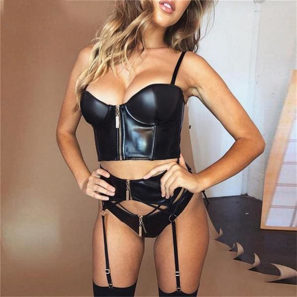 FRONT ZIPPER BUSTIER LEATHER CROP TOP-Crop Tops-Rebellious Creatures
