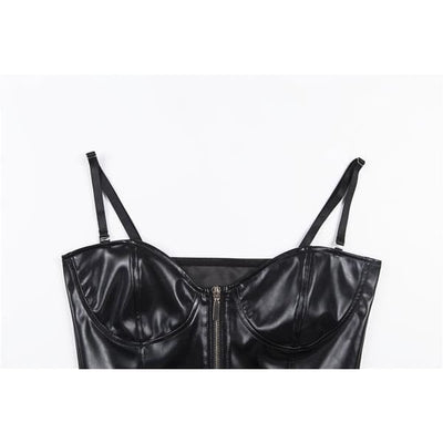 FRONT ZIPPER BUSTIER LEATHER CROP TOP - Crop Tops