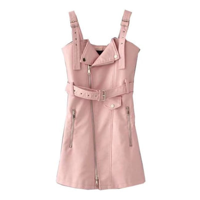 Goddess Leather Dress - Pink / L / United States