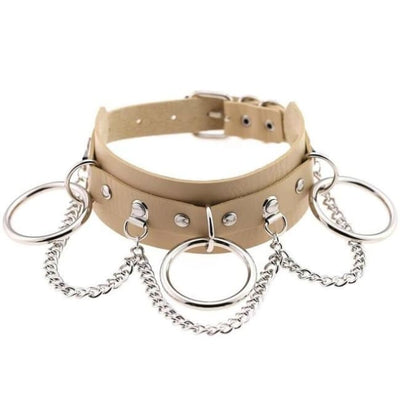 Goth Punk Oring & Chain Bondage Studs Leather Choker - Beige