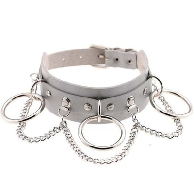 Goth Punk Oring & Chain Bondage Studs Leather Choker - Gray