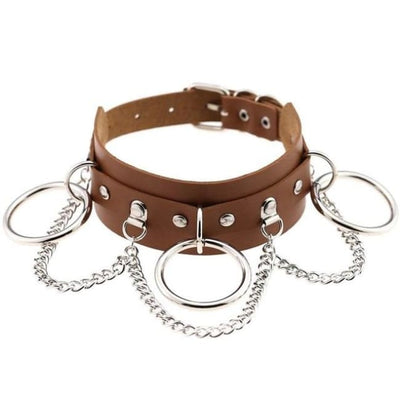 Goth Punk Oring & Chain Bondage Studs Leather Choker - Chocolate