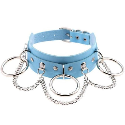 Goth Punk Oring & Chain Bondage Studs Leather Choker - Lightblue