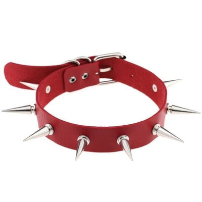 Goth Punk Rock Spike Studs Leather Choker - Red