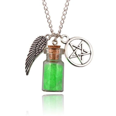 Gothic Angel Wings Pentagram Protection Charm Pendant Necklace - Green
