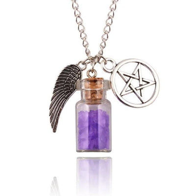 Gothic Angel Wings Pentagram Protection Charm Pendant Necklace - Purple
