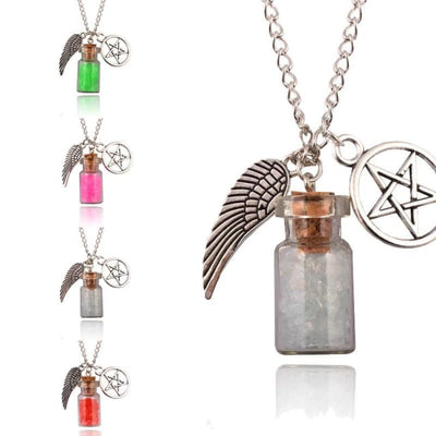 GOTHIC ANGEL WINGS PENTAGRAM PROTECTION CHARM PENDANT NECKLACE-Rebellious Creatures