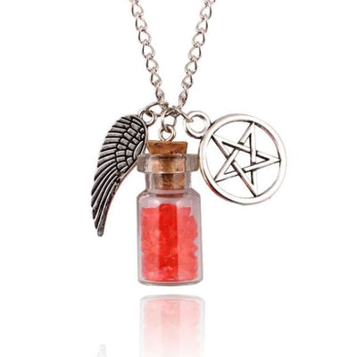 Gothic Angel Wings Pentagram Protection Charm Pendant Necklace - Red