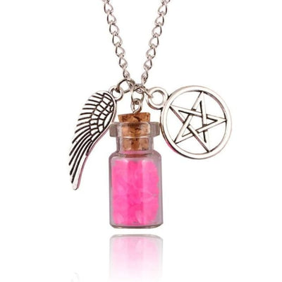 Gothic Angel Wings Pentagram Protection Charm Pendant Necklace - Pink