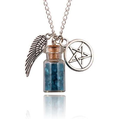 Gothic Angel Wings Pentagram Protection Charm Pendant Necklace - Blue