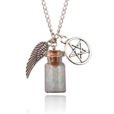Gothic Angel Wings Pentagram Protection Charm Pendant Necklace - White