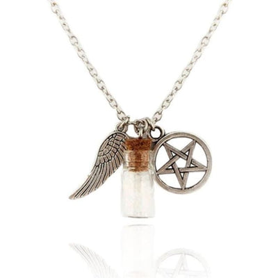 Gothic Angel Wings Pentagram Protection Charm Pendant Necklace - Empty