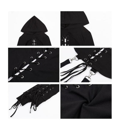 Gothic Back Lace-Up Hoodie