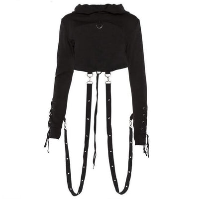 Gothic Back Lace-Up Hoodie - Black / L