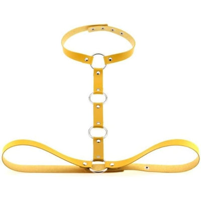 Gothic Body Bondage Harness & Choker - Yellow